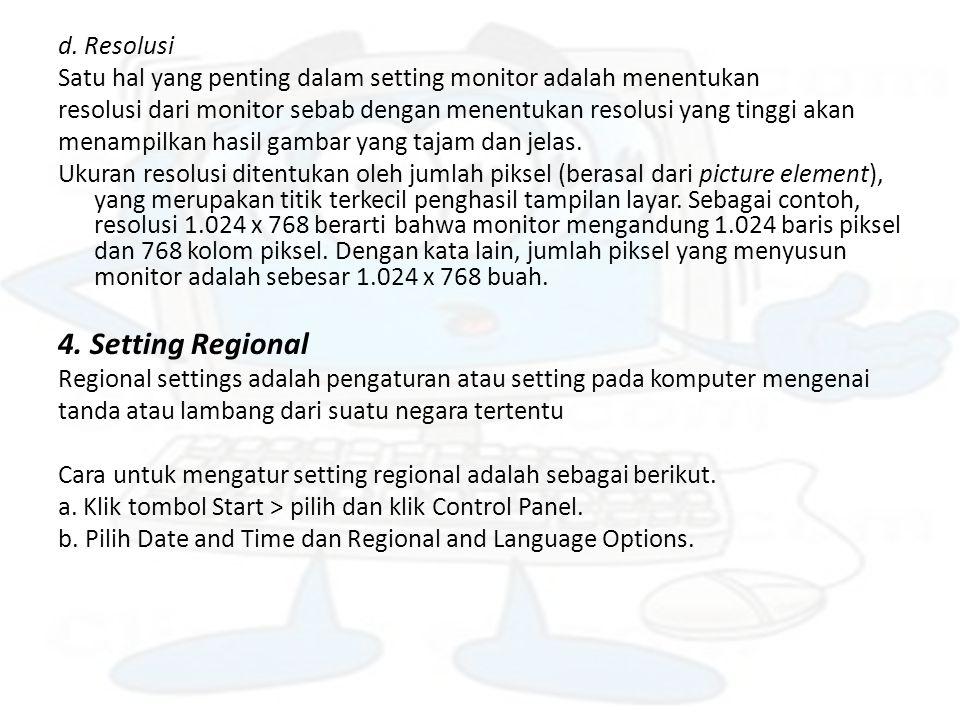 4. Setting Regional d. Resolusi