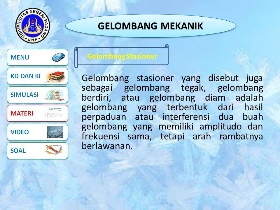 GELOMBANG MEKANIK Gelombang Stasioner. MENU. KD DAN KI.