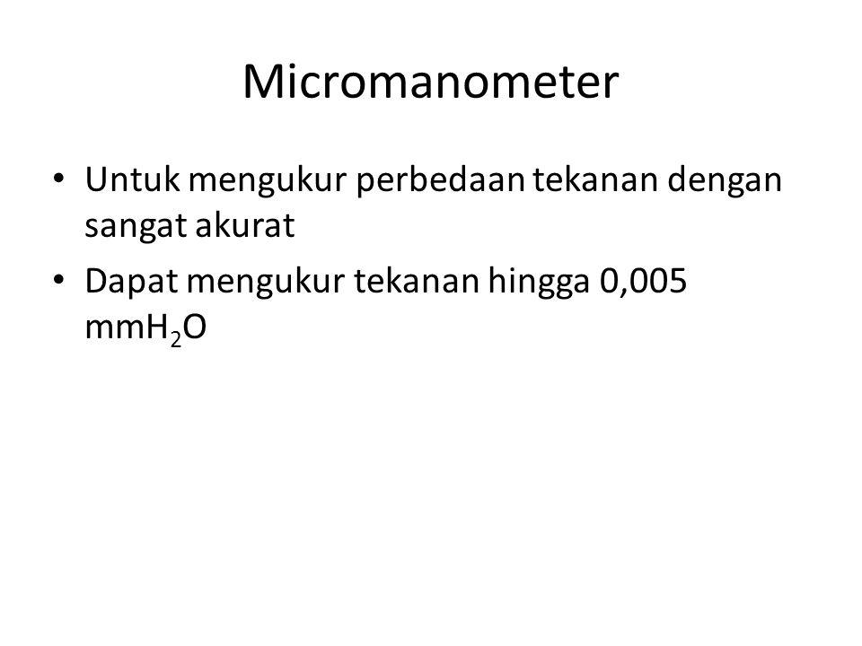 Micromanometer Untuk mengukur perbedaan tekanan dengan sangat akurat