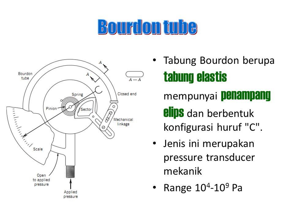 Bourdon tube Tabung Bourdon berupa tabung elastis mempunyai penampang elips dan berbentuk konfigurasi huruf C .