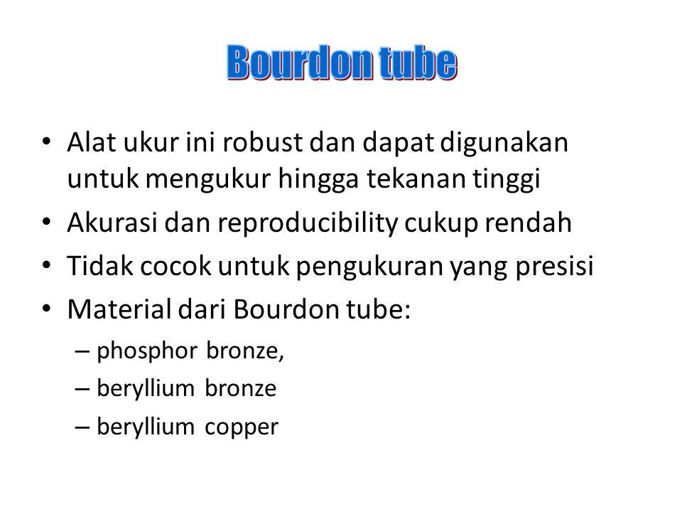 Bourdon tube Alat ukur ini robust dan dapat digunakan untuk mengukur hingga tekanan tinggi. Akurasi dan reproducibility cukup rendah.