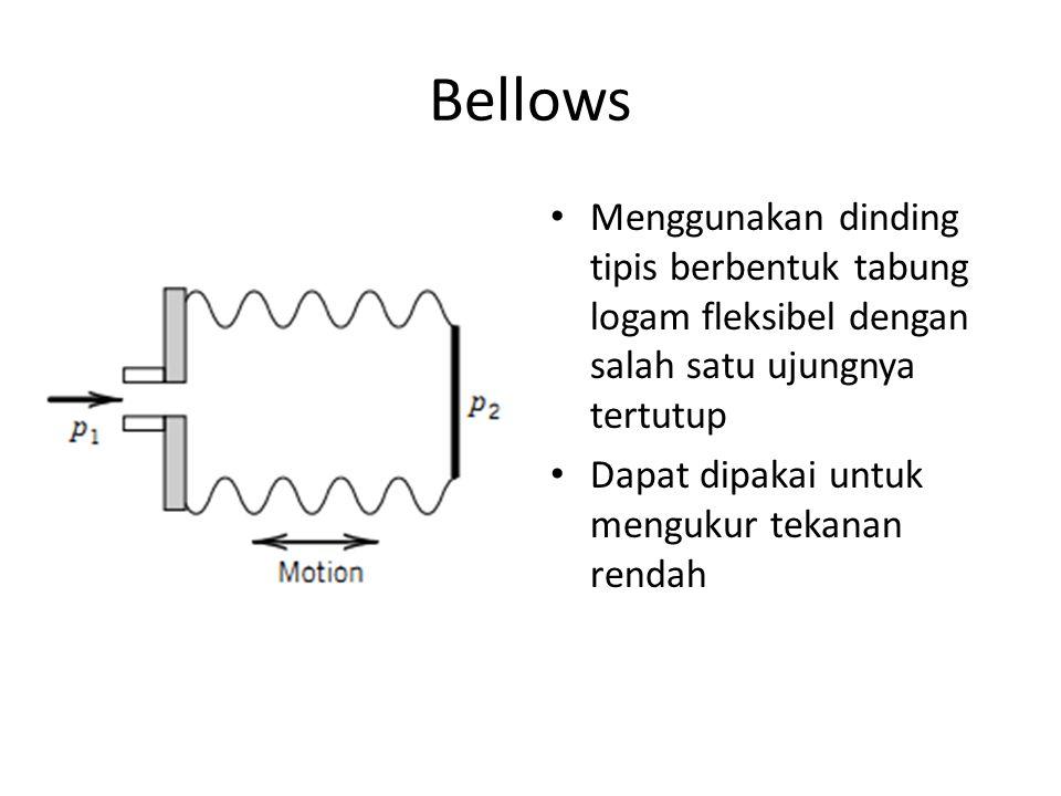 Bellows Menggunakan dinding tipis berbentuk tabung logam fleksibel dengan salah satu ujungnya tertutup.