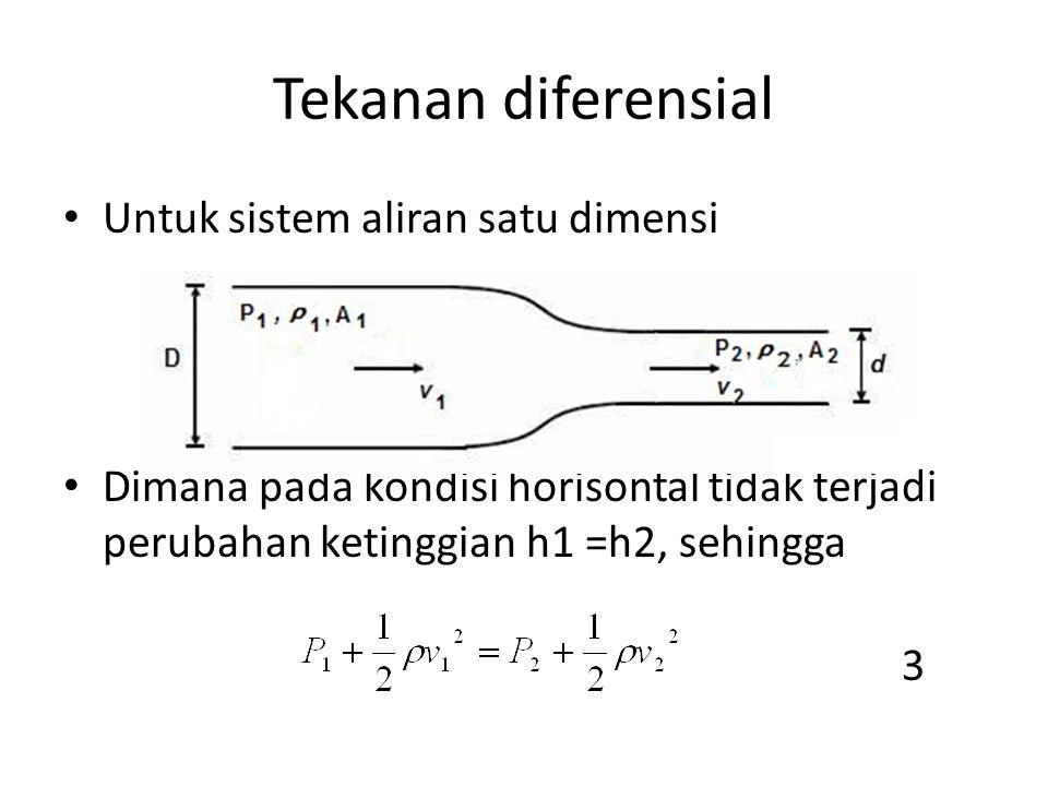 Tekanan diferensial Untuk sistem aliran satu dimensi