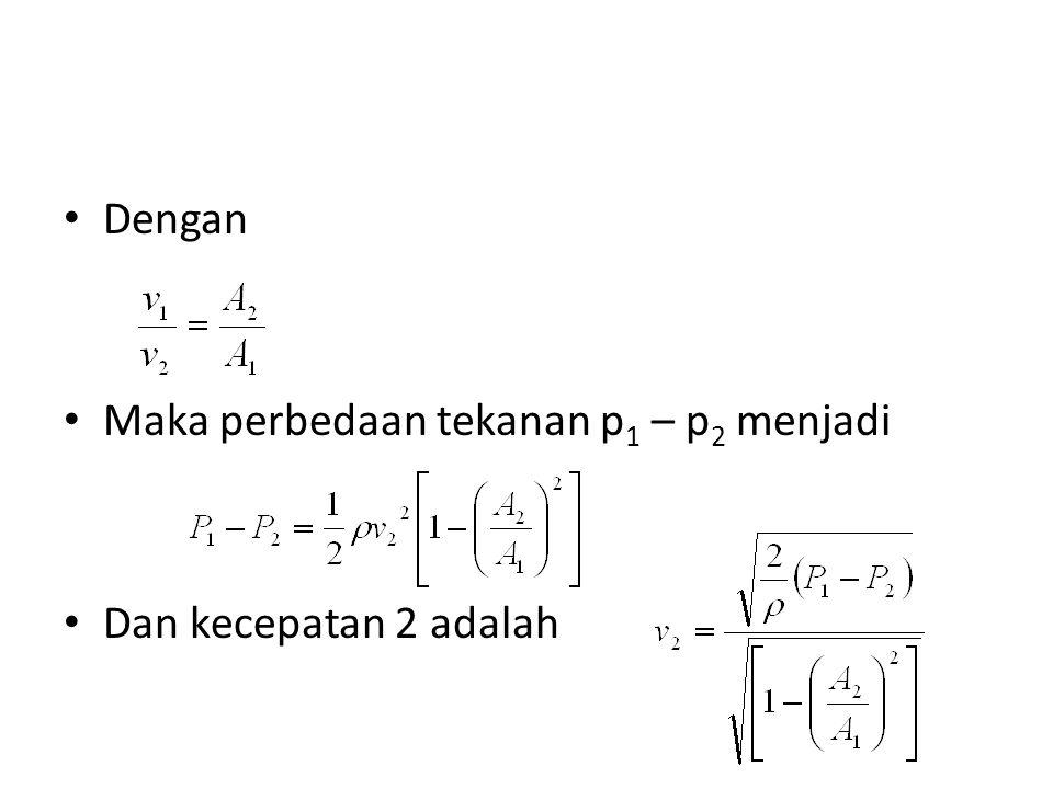 Dengan Maka perbedaan tekanan p1 – p2 menjadi Dan kecepatan 2 adalah