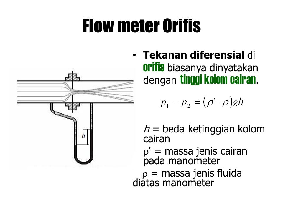Flow meter Orifis Tekanan diferensial di orifis biasanya dinyatakan dengan tinggi kolom cairan. h = beda ketinggian kolom cairan.