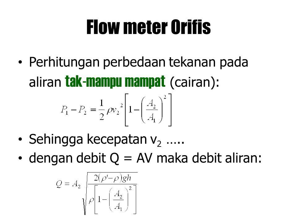 Flow meter Orifis Perhitungan perbedaan tekanan pada aliran tak-mampu mampat (cairan): Sehingga kecepatan v2 …..