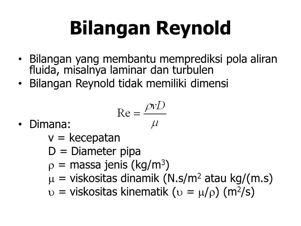 Bilangan Reynold Bilangan yang membantu memprediksi pola aliran fluida, misalnya laminar dan turbulen.