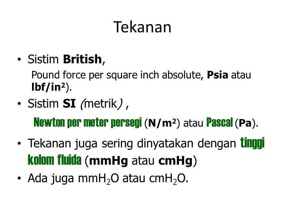 Tekanan Newton per meter persegi (N/m2) atau Pascal (Pa).