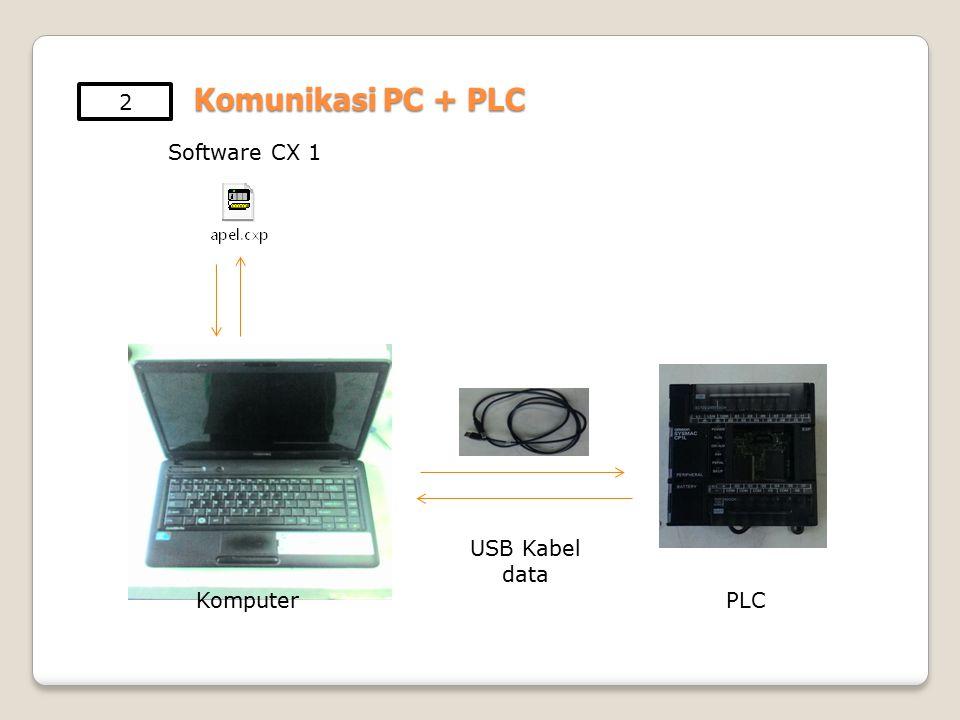 2 Komunikasi PC + PLC Software CX 1 USB Kabel data Komputer PLC