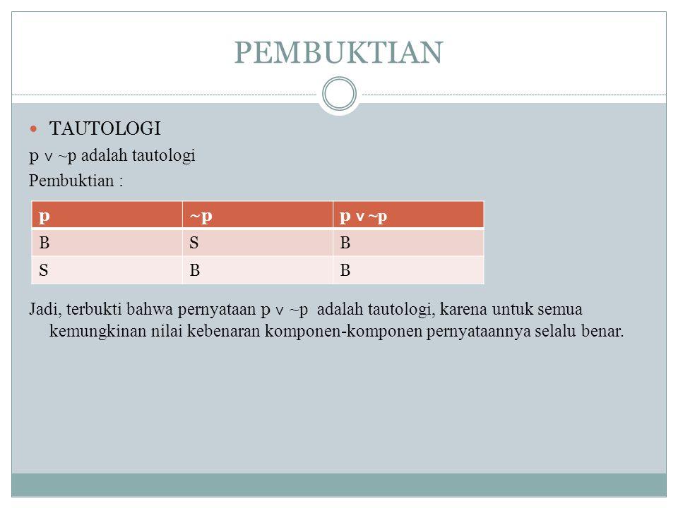 PEMBUKTIAN TAUTOLOGI p ˅ ~p adalah tautologi Pembuktian :