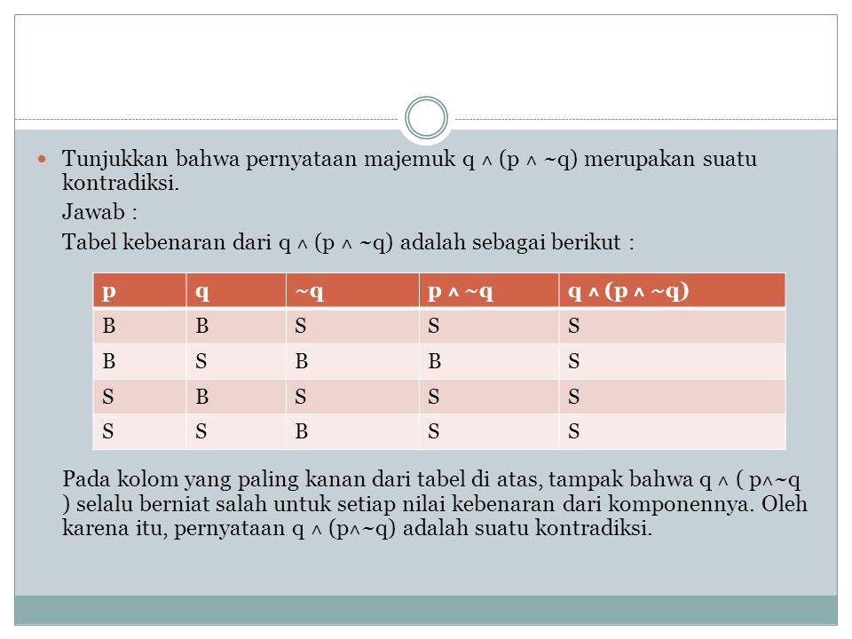Tabel kebenaran dari q ˄ (p ˄ ~q) adalah sebagai berikut :