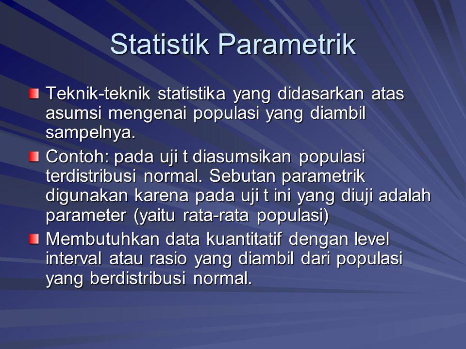 Statistik Parametrik Teknik-teknik statistika yang didasarkan atas asumsi mengenai populasi yang diambil sampelnya.