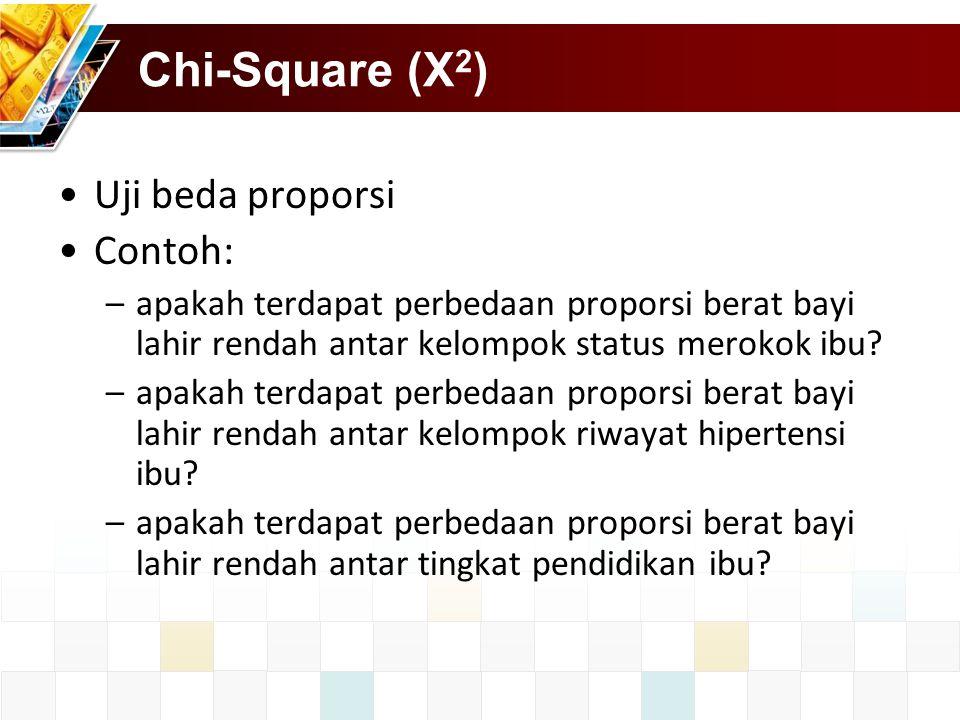 Chi-Square (X2) Uji beda proporsi Contoh: