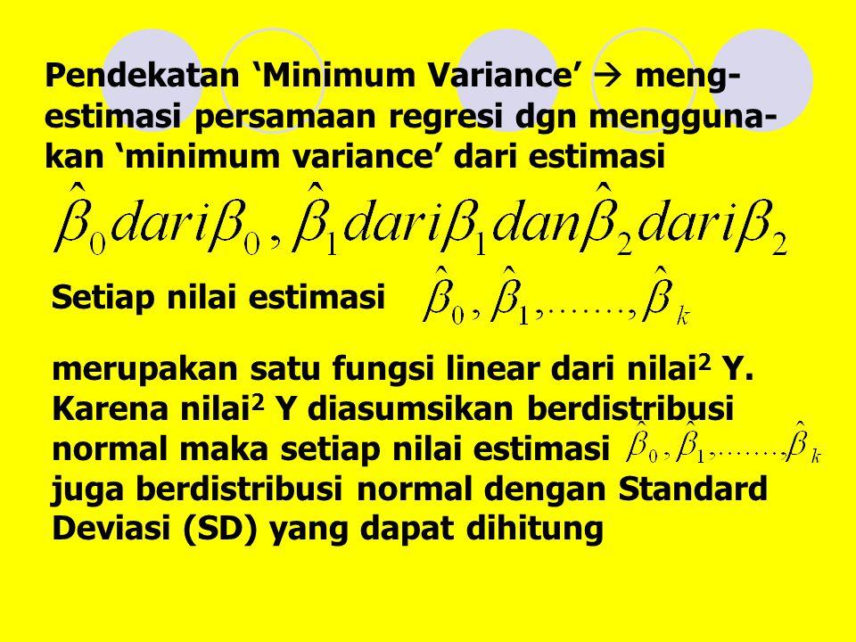 Pendekatan 'Minimum Variance'  meng-estimasi persamaan regresi dgn mengguna-kan 'minimum variance' dari estimasi