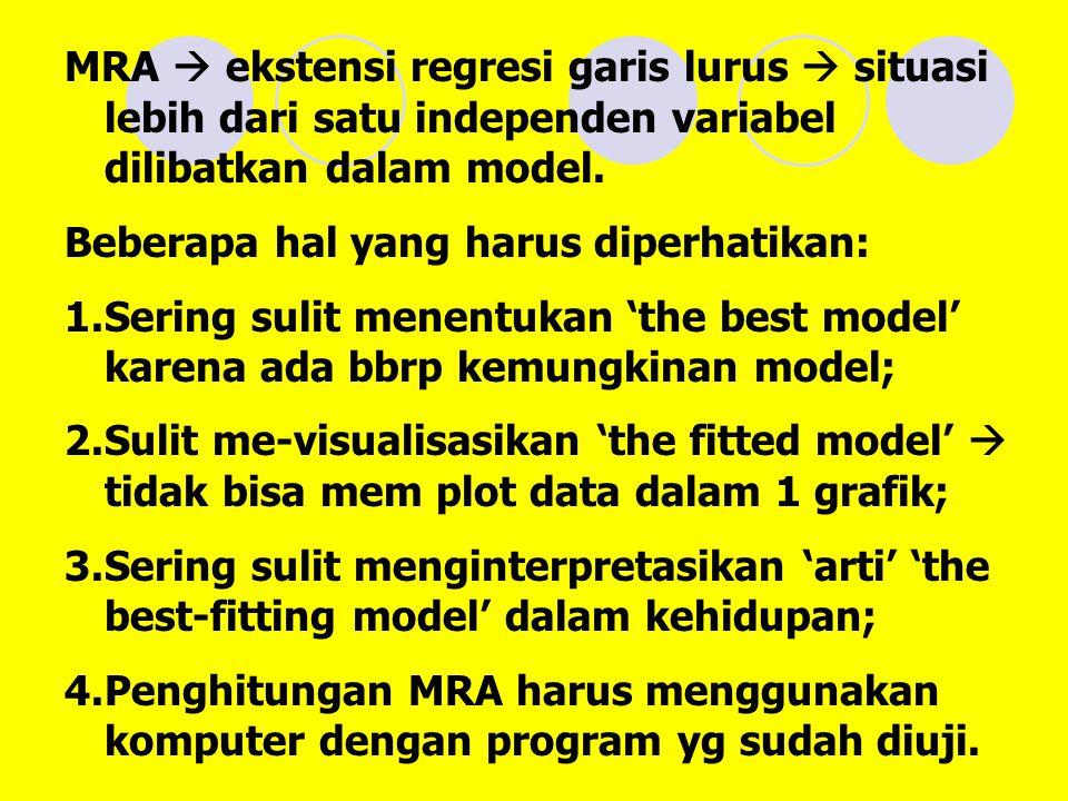 MRA  ekstensi regresi garis lurus  situasi lebih dari satu independen variabel dilibatkan dalam model.
