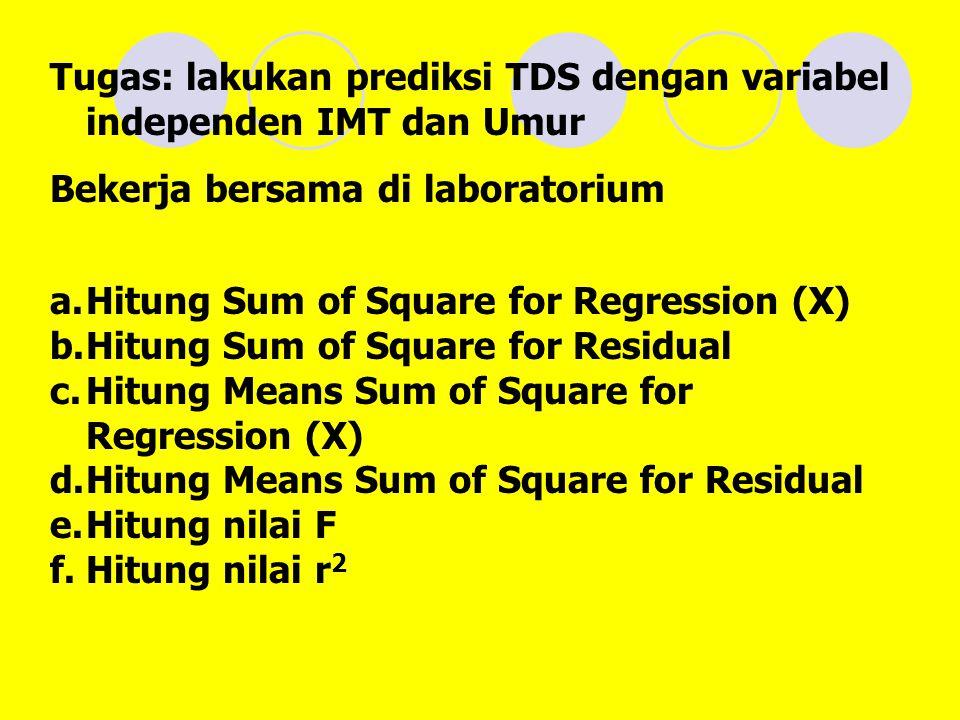 Tugas: lakukan prediksi TDS dengan variabel independen IMT dan Umur