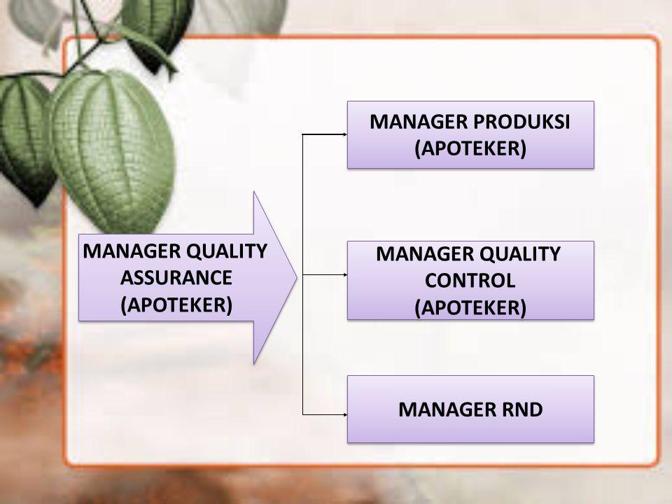MANAGER PRODUKSI (APOTEKER) MANAGER QUALITY. ASSURANCE. (APOTEKER) MANAGER QUALITY. CONTROL. (APOTEKER)