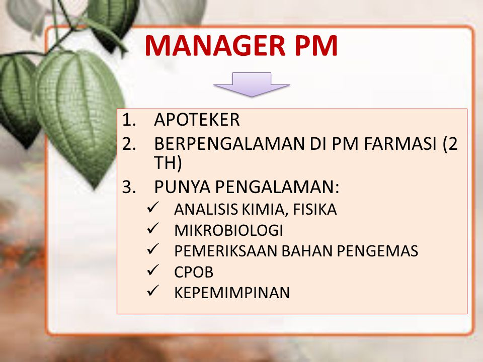 MANAGER PM APOTEKER BERPENGALAMAN DI PM FARMASI (2 TH)
