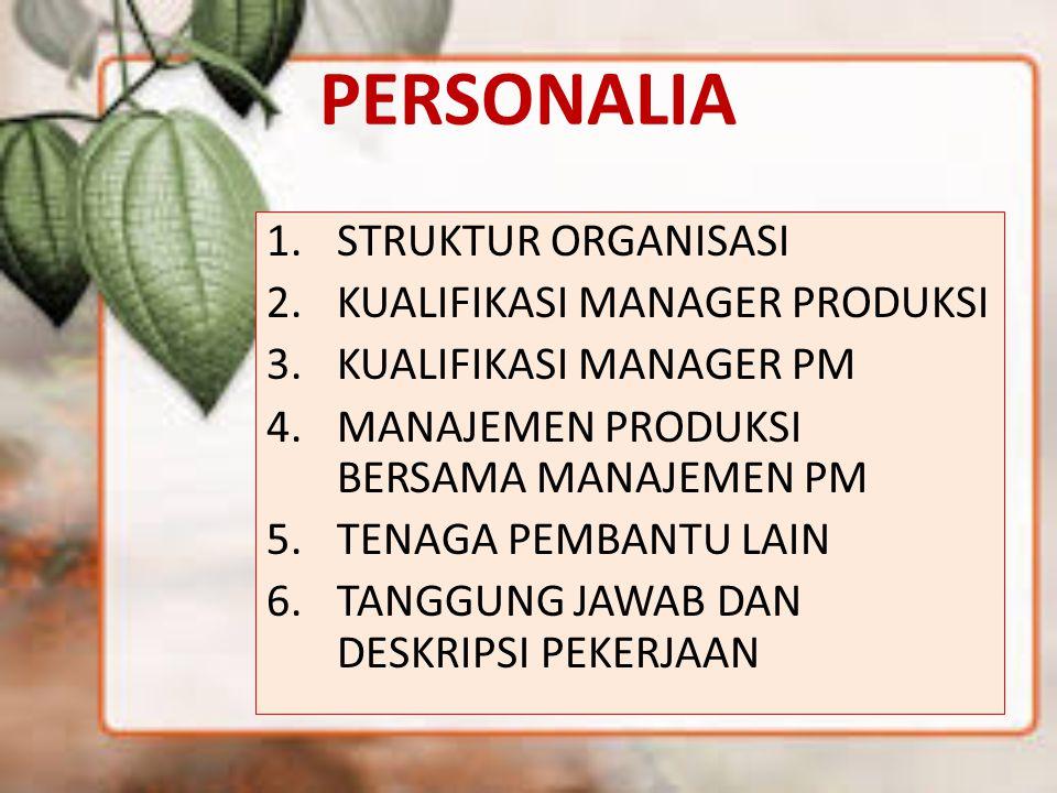 PERSONALIA STRUKTUR ORGANISASI KUALIFIKASI MANAGER PRODUKSI