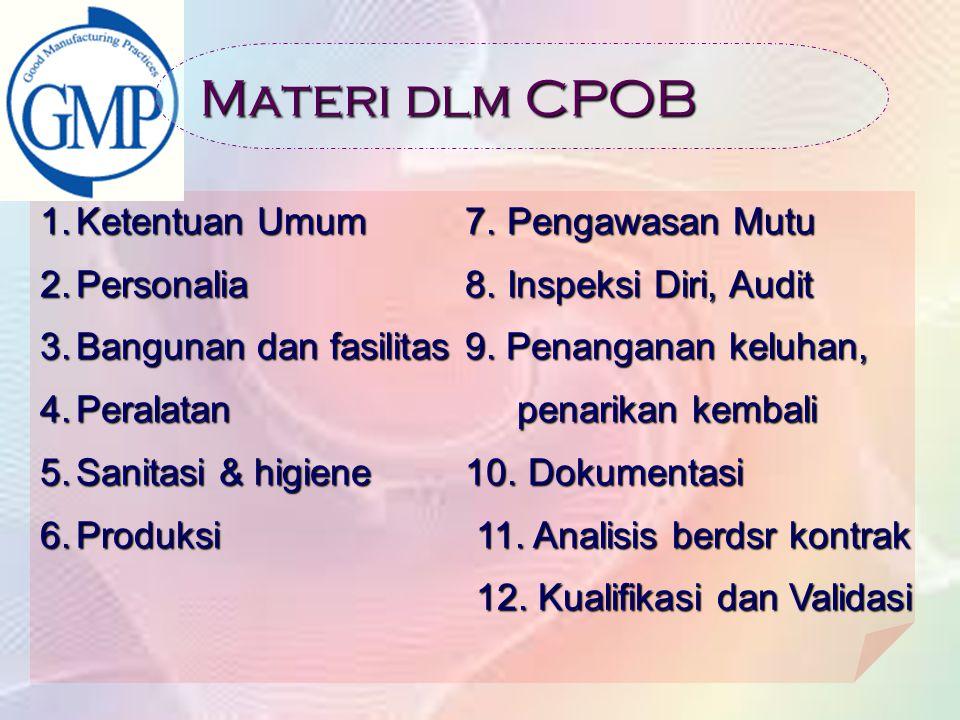 Materi dlm CPOB Ketentuan Umum 7. Pengawasan Mutu