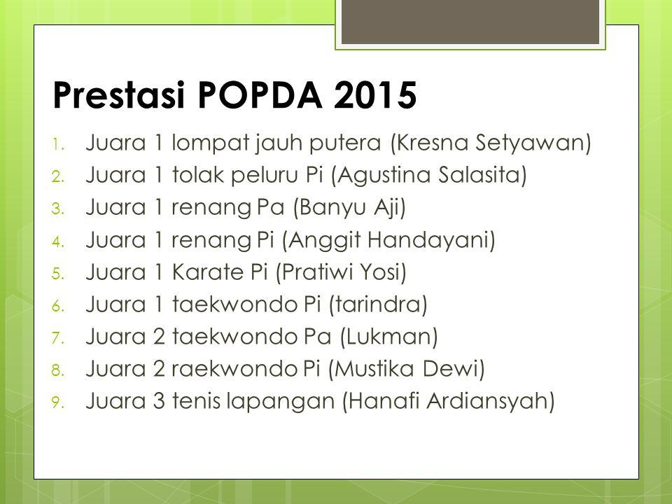 Prestasi POPDA 2015 Juara 1 lompat jauh putera (Kresna Setyawan)