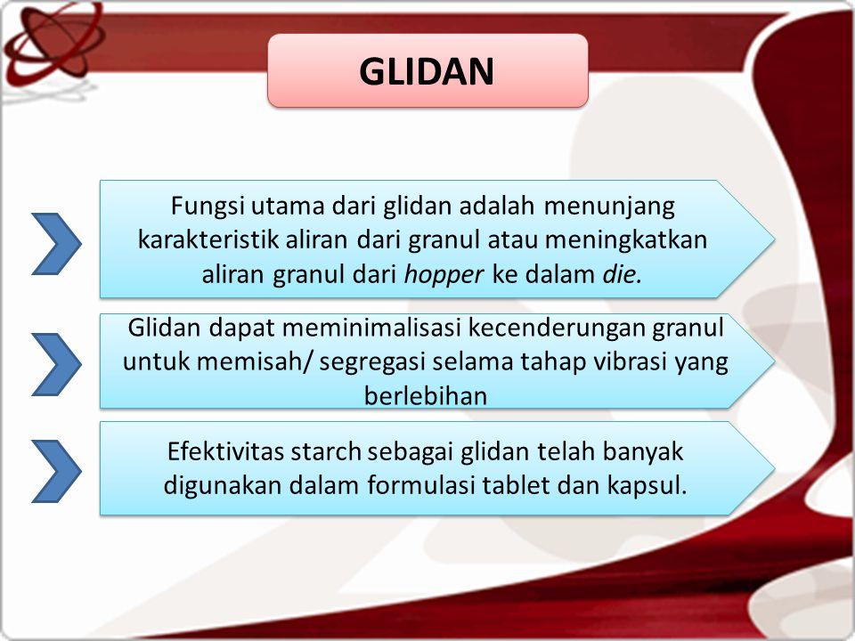 GLIDAN Fungsi utama dari glidan adalah menunjang karakteristik aliran dari granul atau meningkatkan aliran granul dari hopper ke dalam die.