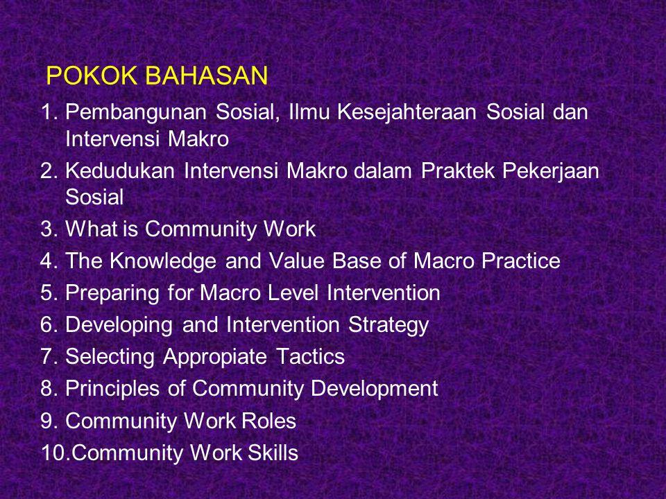 POKOK BAHASAN Pembangunan Sosial, Ilmu Kesejahteraan Sosial dan Intervensi Makro. Kedudukan Intervensi Makro dalam Praktek Pekerjaan Sosial.