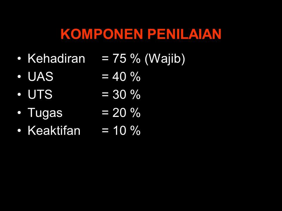 KOMPONEN PENILAIAN Kehadiran = 75 % (Wajib) UAS = 40 % UTS = 30 %