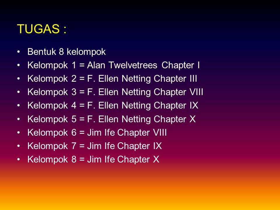 TUGAS : Bentuk 8 kelompok Kelompok 1 = Alan Twelvetrees Chapter I