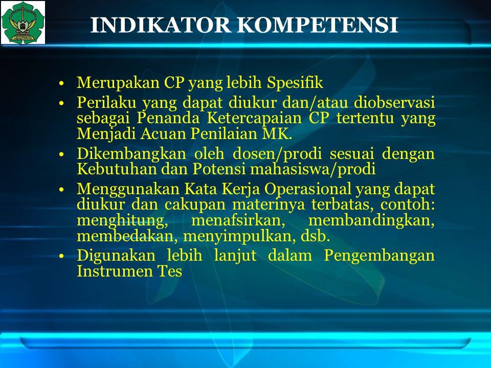 INDIKATOR KOMPETENSI Merupakan CP yang lebih Spesifik
