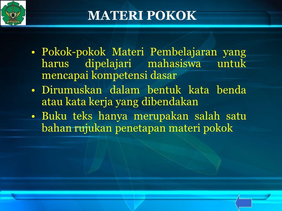 MATERI POKOK Pokok-pokok Materi Pembelajaran yang harus dipelajari mahasiswa untuk mencapai kompetensi dasar.