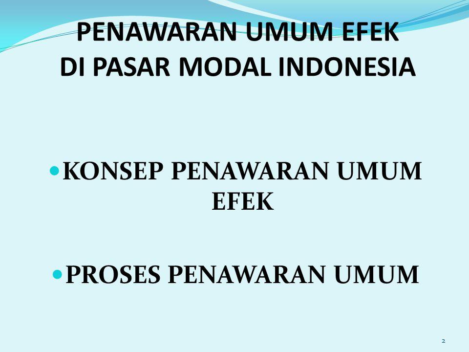 PENAWARAN UMUM EFEK DI PASAR MODAL INDONESIA