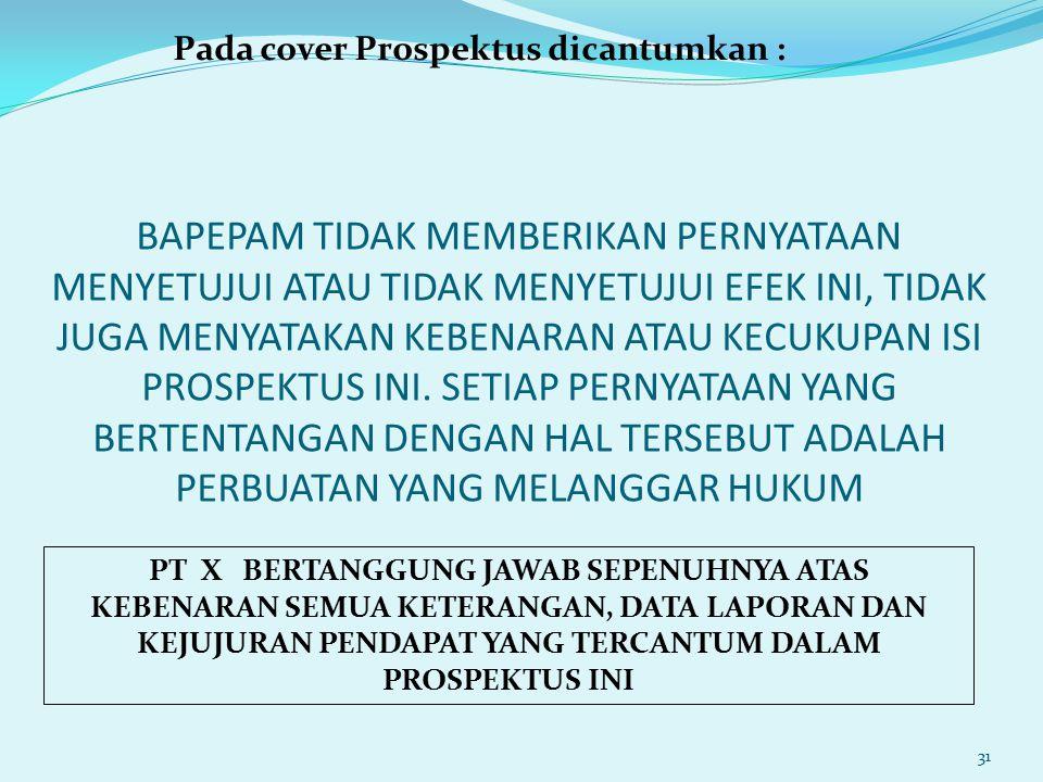 Pada cover Prospektus dicantumkan :