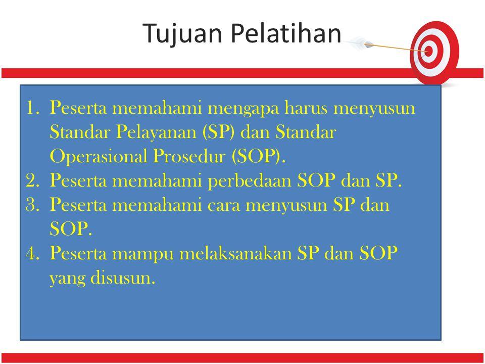 Tujuan Pelatihan Peserta memahami mengapa harus menyusun Standar Pelayanan (SP) dan Standar Operasional Prosedur (SOP).