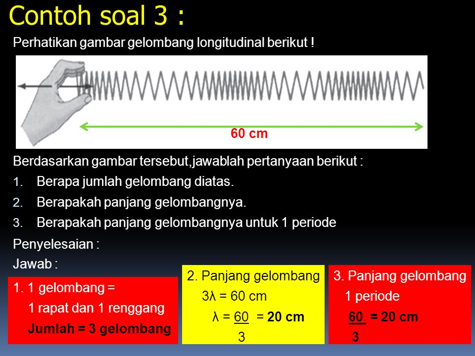 Contoh soal 3 : Perhatikan gambar gelombang longitudinal berikut !