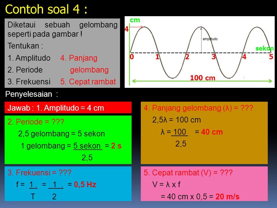 Contoh soal 4 : Diketaui sebuah gelombang seperti pada gambar !