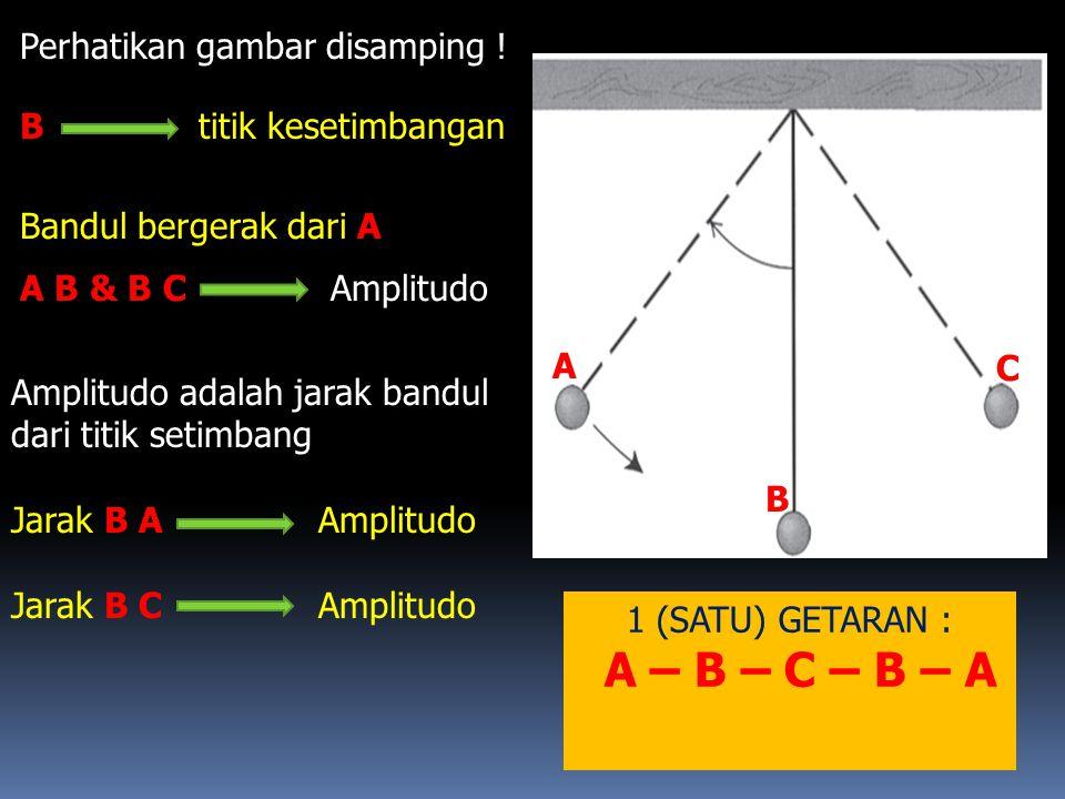 A – B – C – B – A Perhatikan gambar disamping ! B titik kesetimbangan