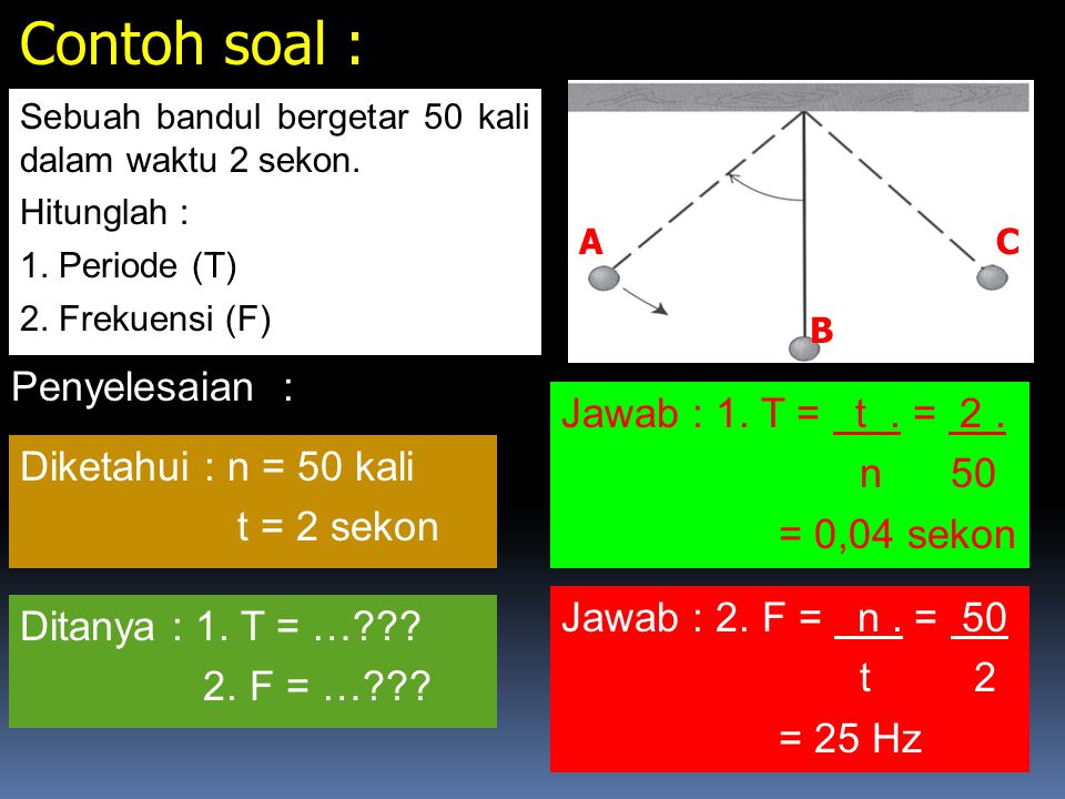 Contoh soal : Penyelesaian : Jawab : 1. T = t . = 2 . n 50