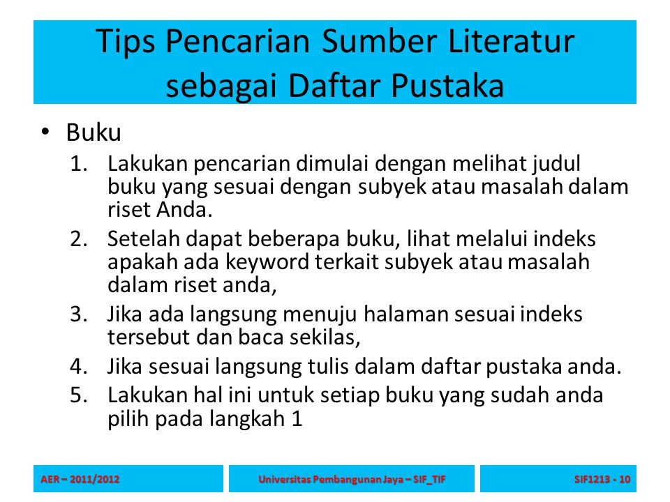 Tips Pencarian Sumber Literatur sebagai Daftar Pustaka