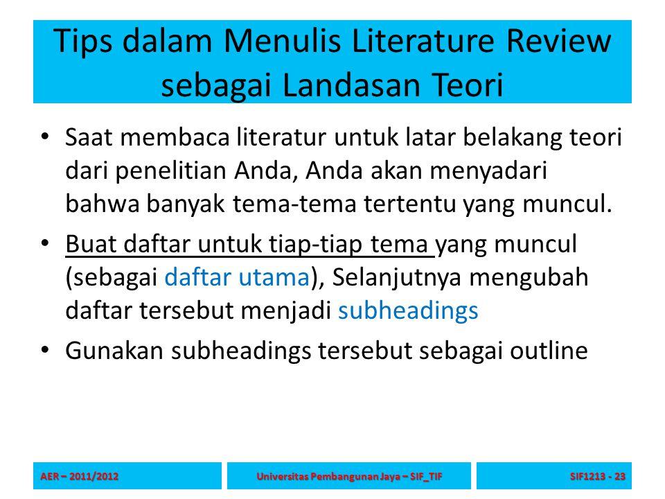 Tips dalam Menulis Literature Review sebagai Landasan Teori