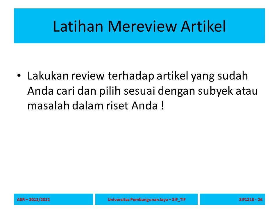 Latihan Mereview Artikel