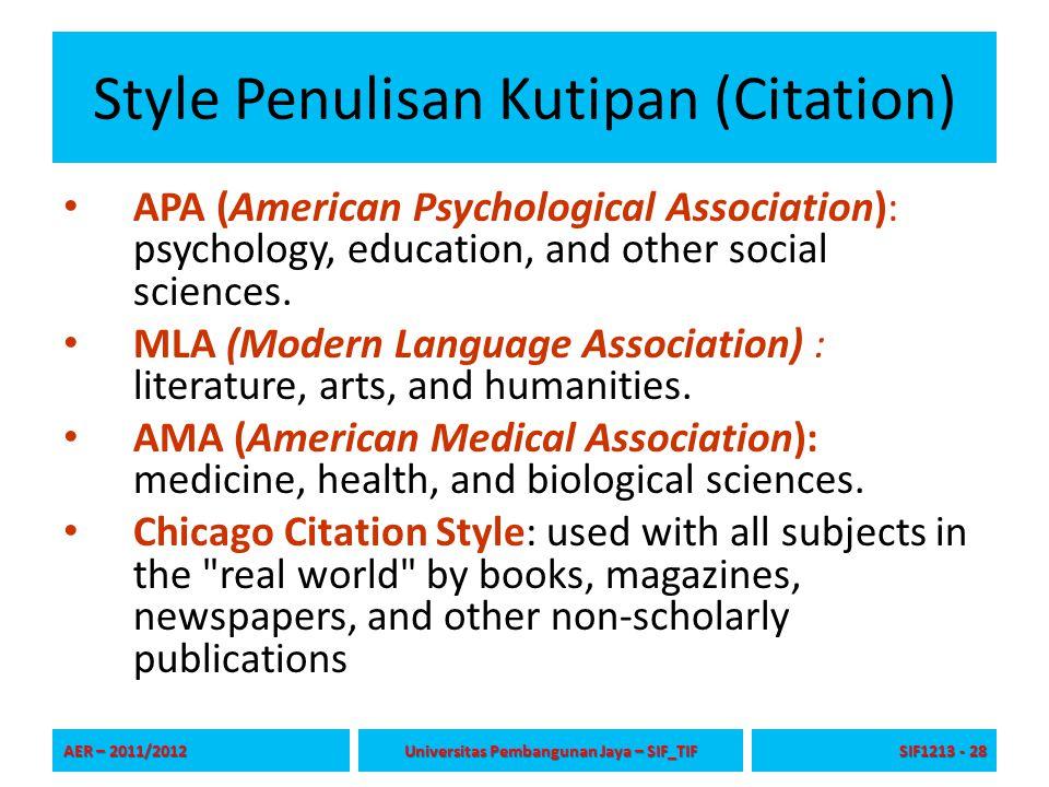 Style Penulisan Kutipan (Citation)