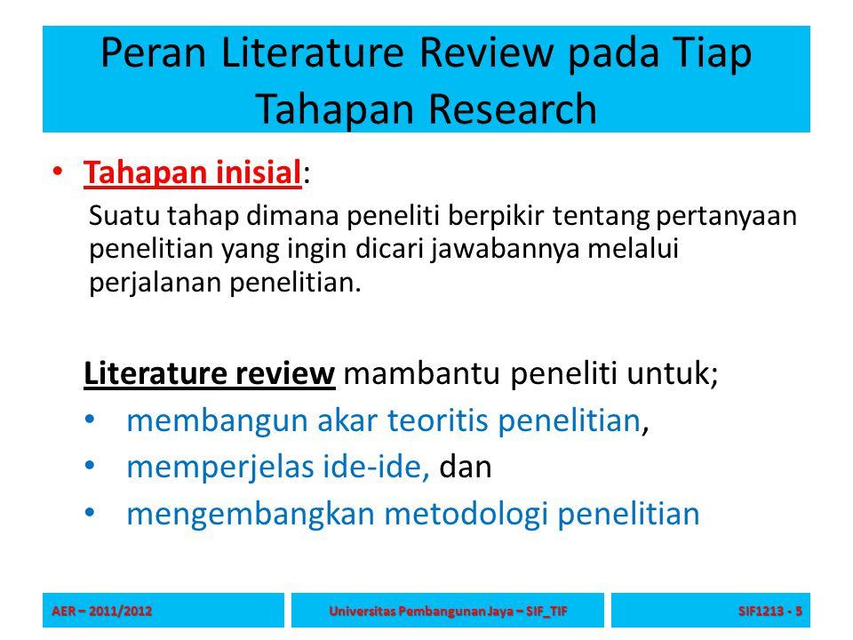 Peran Literature Review pada Tiap Tahapan Research