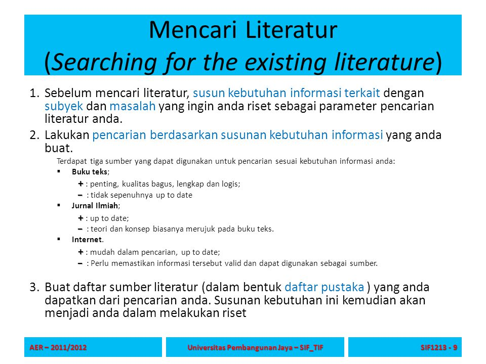 Mencari Literatur (Searching for the existing literature)