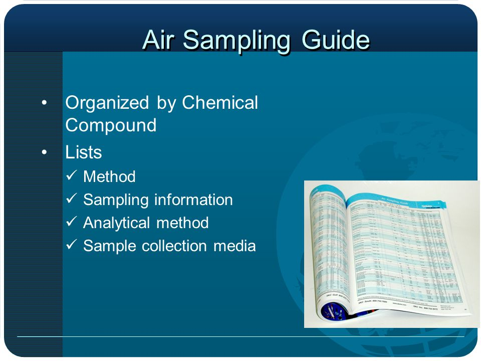 Air Sampling Guide Organized by Chemical Compound Lists Method