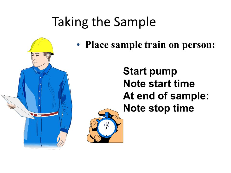 Taking the Sample Place sample train on person: Start pump