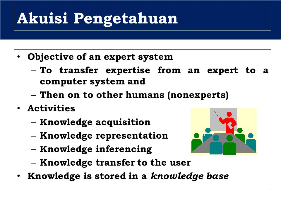Akuisi Pengetahuan Objective of an expert system