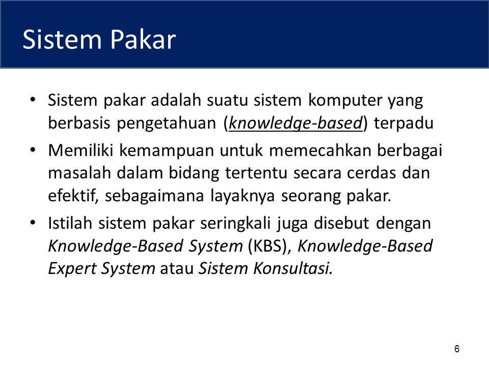 Sistem Pakar Sistem pakar adalah suatu sistem komputer yang berbasis pengetahuan (knowledge-based) terpadu.