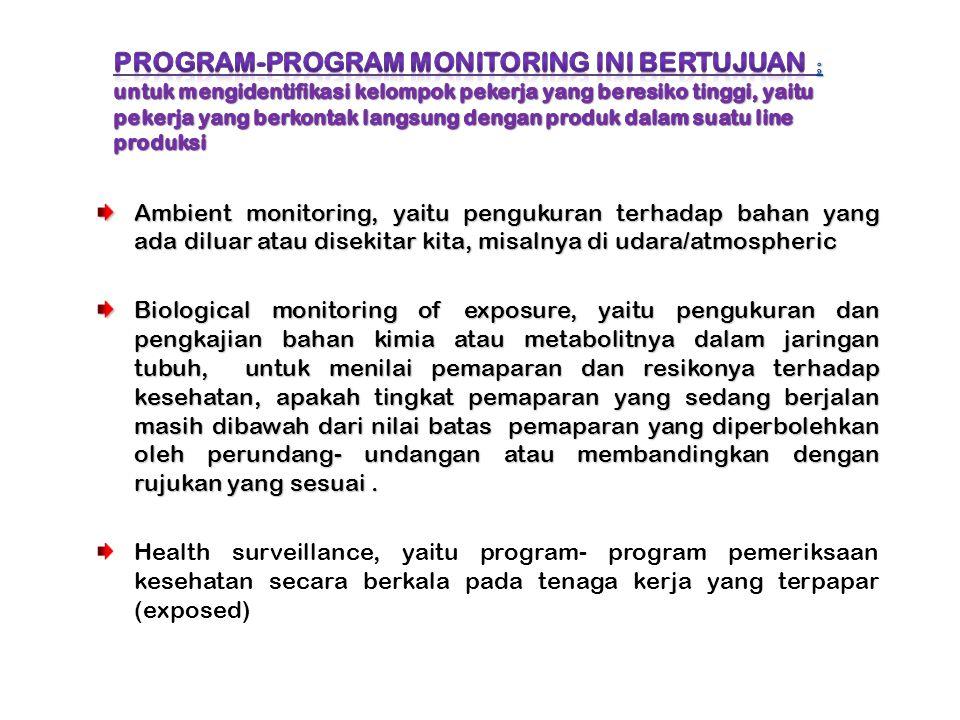 Program-program monitoring ini bertujuan ; untuk mengidentifikasi kelompok pekerja yang beresiko tinggi, yaitu pekerja yang berkontak langsung dengan produk dalam suatu line produksi