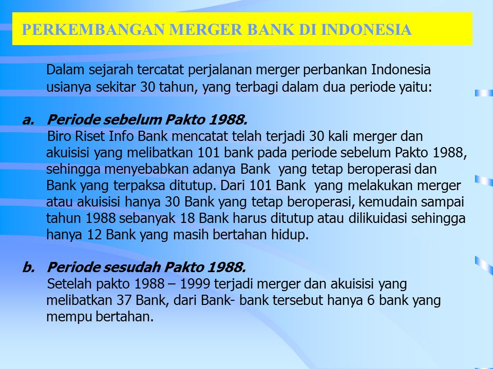 PERKEMBANGAN MERGER BANK DI INDONESIA